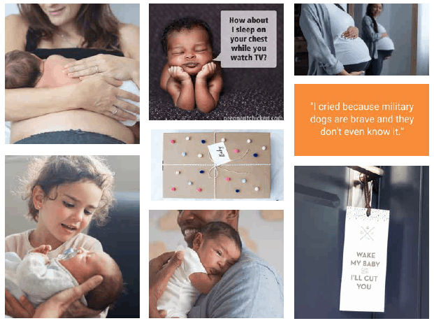 pregnancy and baby posts from Pregnant Chicken media kit