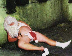 drunk naked santa in alley