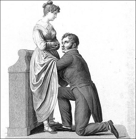 Old medical drawing of man examining pregnant woman