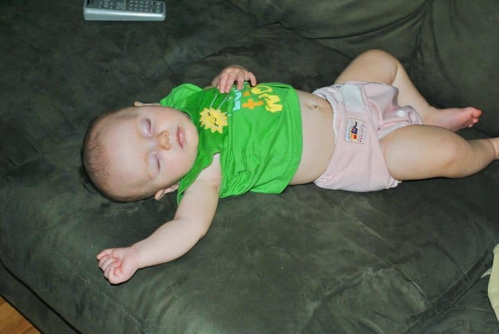 baby asleep on the couch