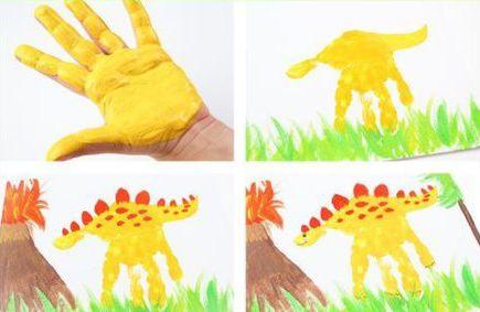 How to make dino hand print art
