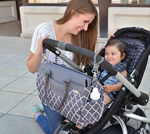 diaper bag clipped onto stroller