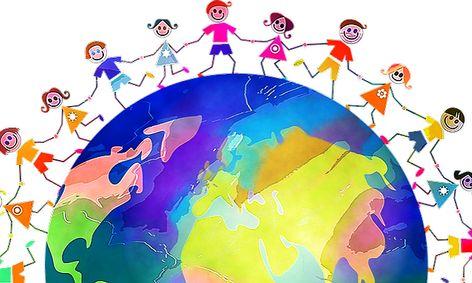 Cartoon of children holding hands around the world