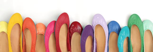 row of colorful Tieks shoes