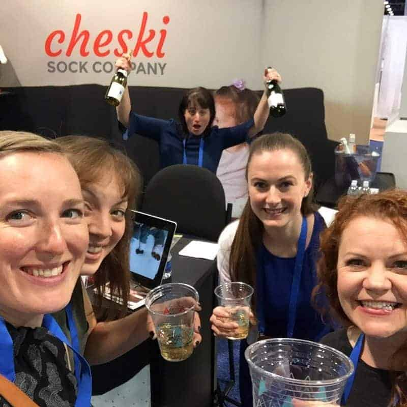 Special thanks to Beth from Cheski socks for giving us champagne. She knows her convention hacks. (Front left to right, Emily, Claire, Beth (Cheski), Kelly, and Amy)