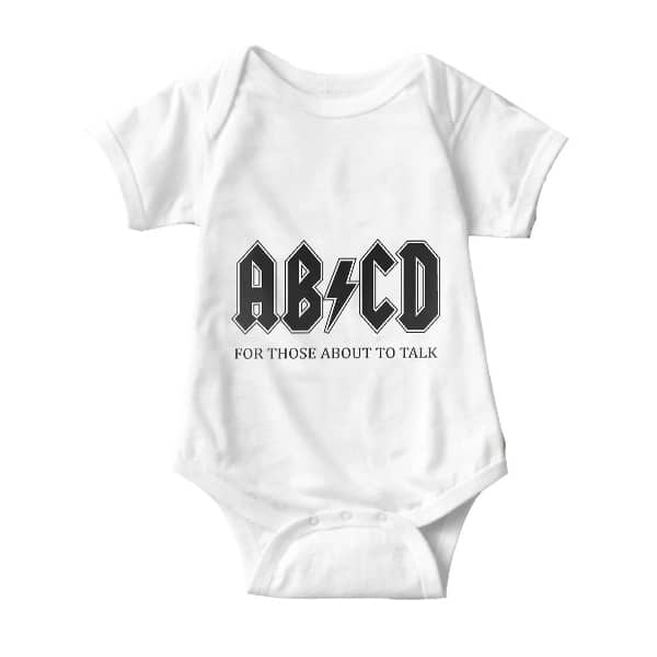 abcd acdc onesie