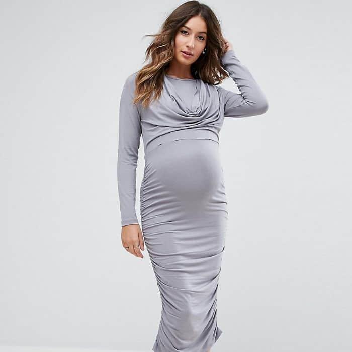 gray maternity dress