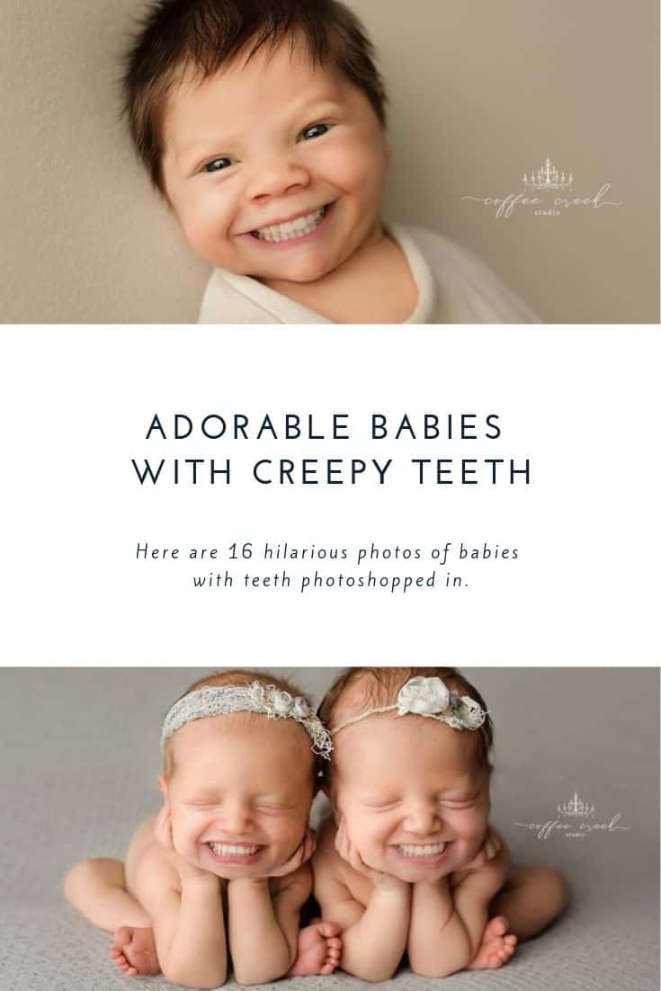 newborn baby with teeth photoshopped in.