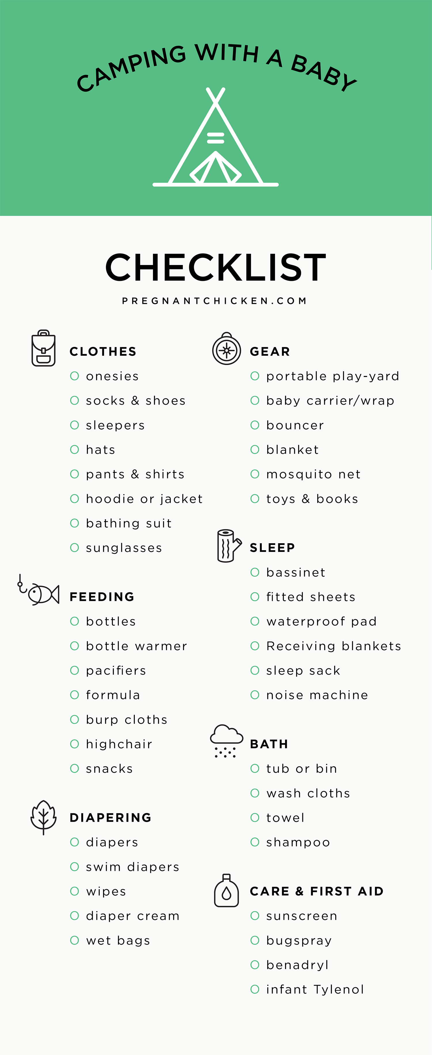 baby camping packing checklist