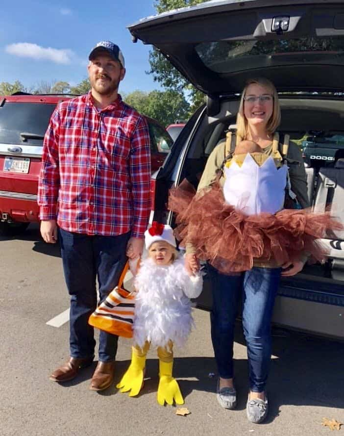 family chicken and nest costume