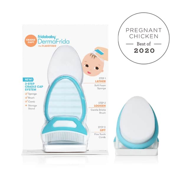 Fridababy Cradle Cap brush and packaging with Best Pregnancy & Baby Products for 2020 badge
