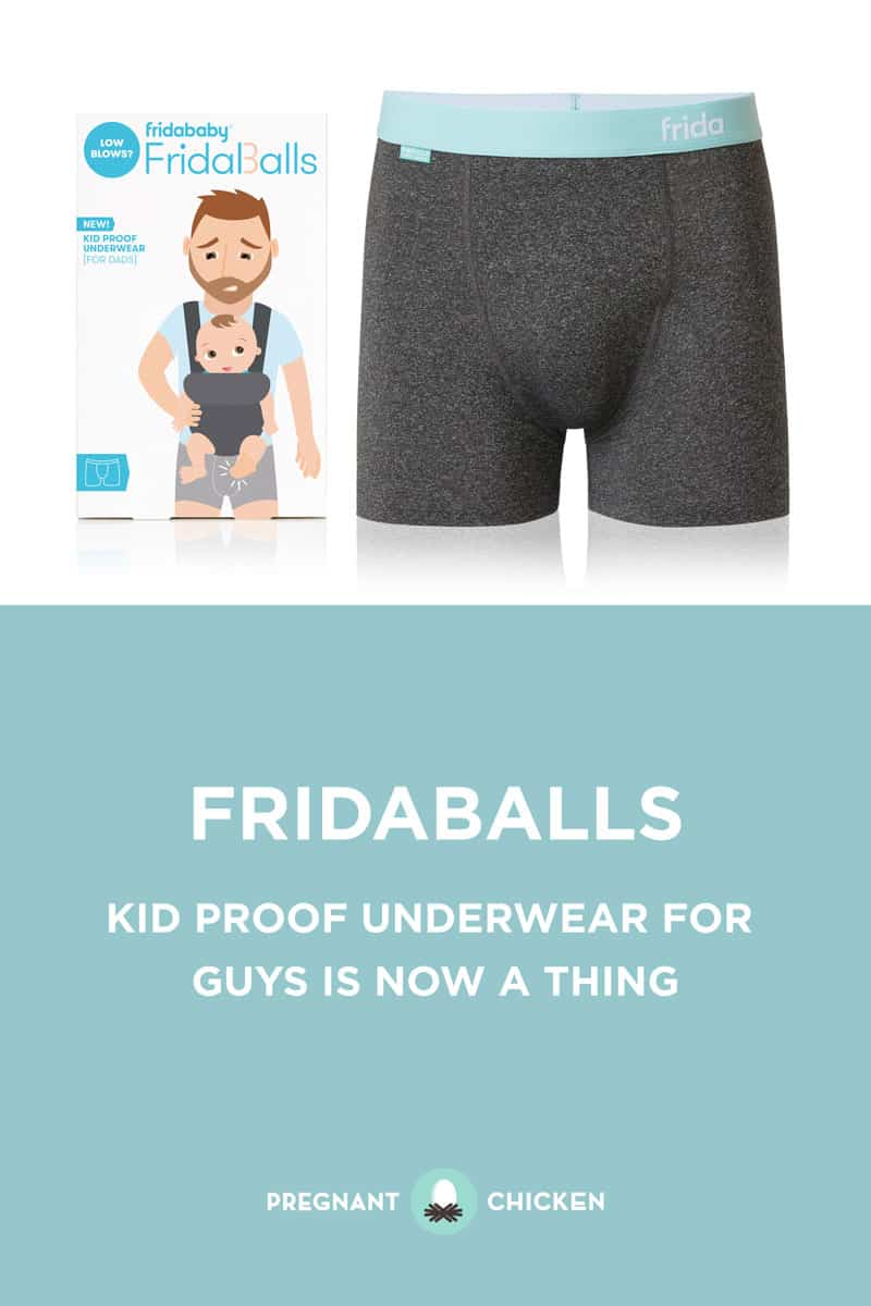 Created by Fridababy, FridaBalls are kid proof underwear designed with a reinforced protective pouch, a no-slip waistband, and breathable, wicking fabric.