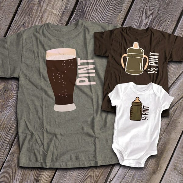 Half pint and pin father and baby shirt onesie