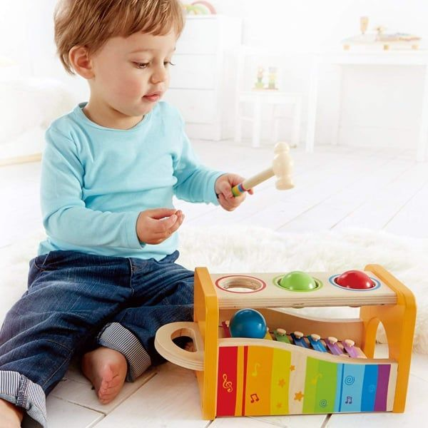 Hape Pound and Tap Bench with Slide Out Xylophone - wooden baby toys