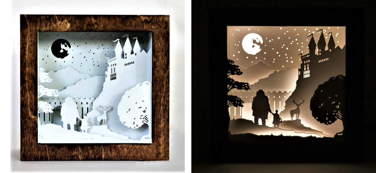 scene from harry potter made into a shadow box