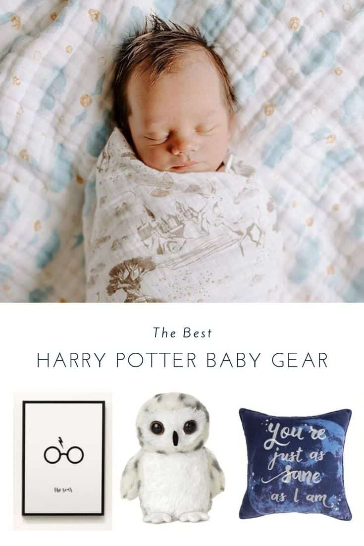 """baby in harry potter swaddle """"the Best Harry Potter Baby gear"""" picture, owl and pillow"""