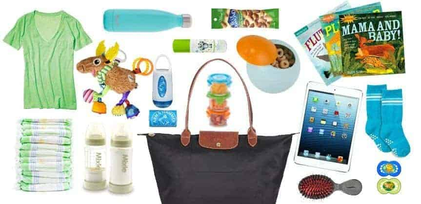 itemized list of things to pack in your handbag when flying with a baby