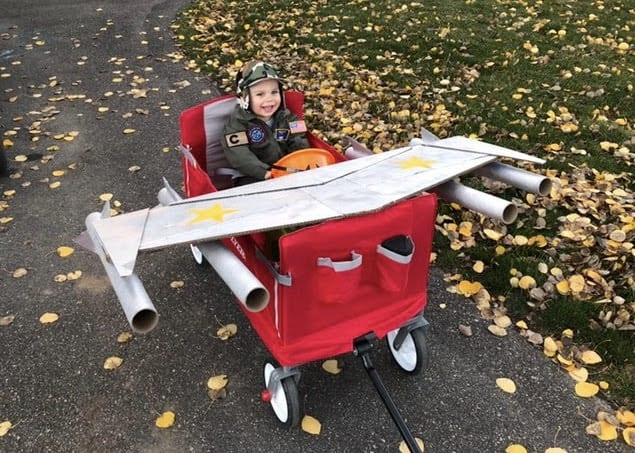 baby jet fighter in wagon