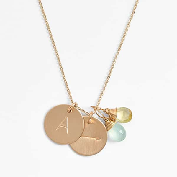initial and arrow gold necklace with two charms