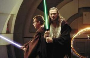 Jedi knights holding lightsabers