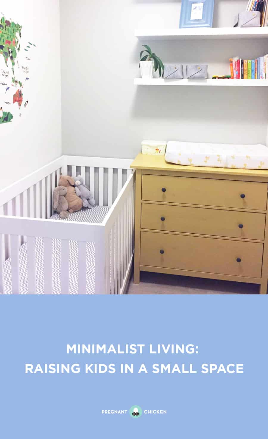 Living small doesn't mean you can't expand your family. From murphey beds to toy libraries, here are some pro tips about how to maximize your nursery space. #minimalistliving #smallnursery #smallliving #nurserylayout #nurserycloset