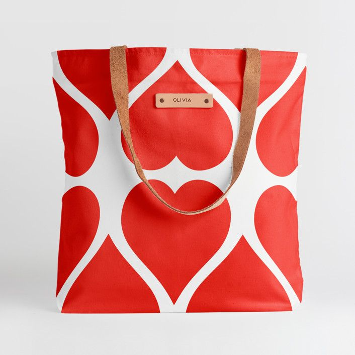 personalized heart tote