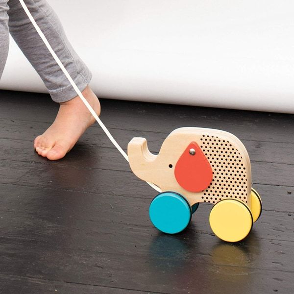 Petit Collage Jumping Jumbo Elephant Pull Toy - wooden baby toys