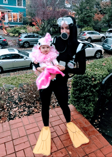 mom and baby scuba and fish costume