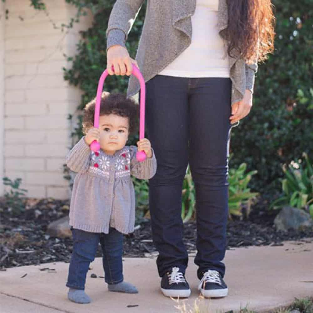 mom using tot 2 walk with toddler