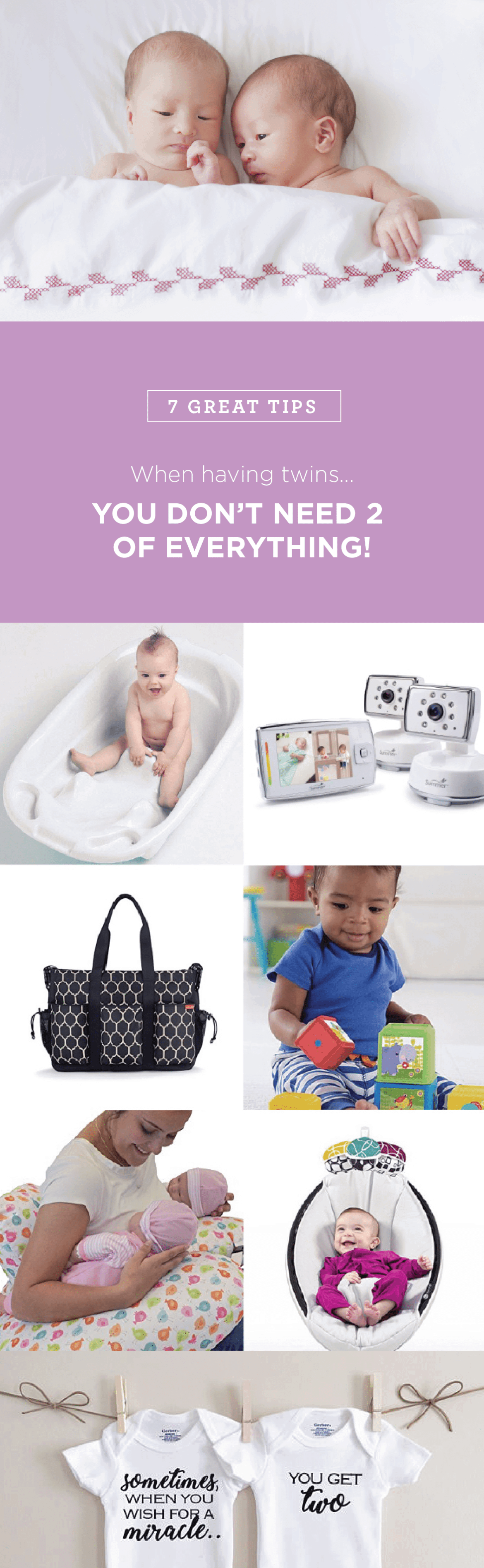 Preparing for twins is a big task, but you don't need to double your shopping list. Here's what you just need one of.