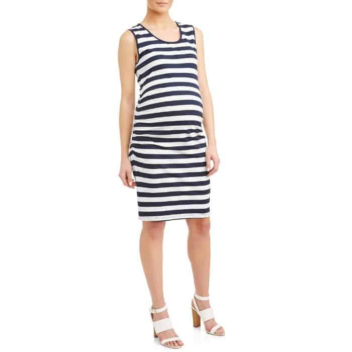 stripped dress on pregnant woman