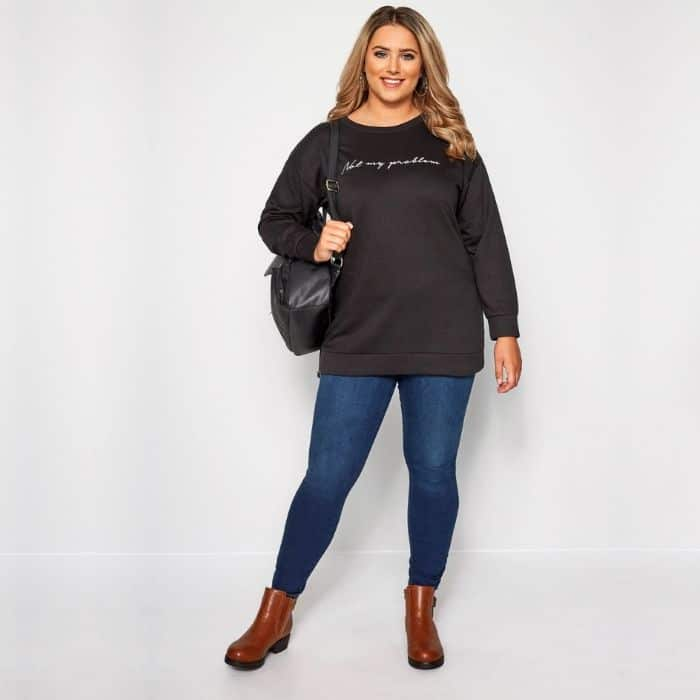 Cheap Plus Size Maternity Clothes woman in denim and sweatshirt