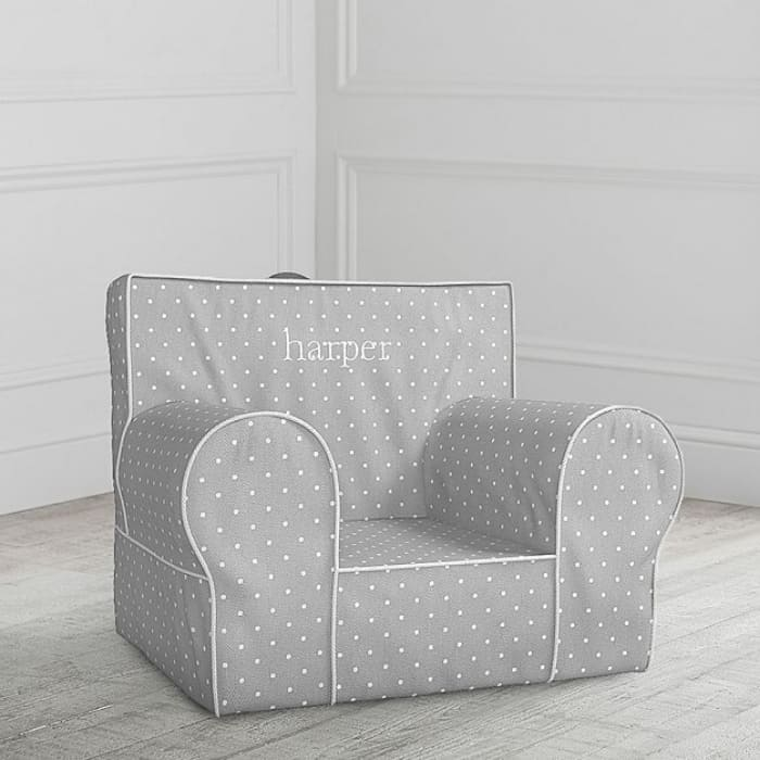 gray anywhere chair with the name Harper