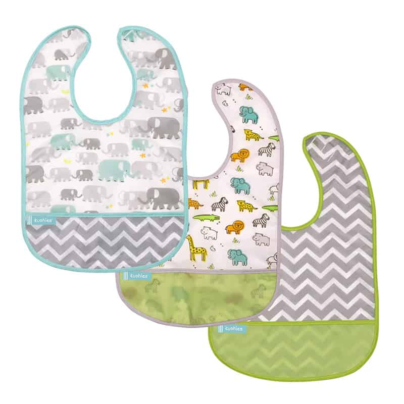 collection of patterned baby bibs