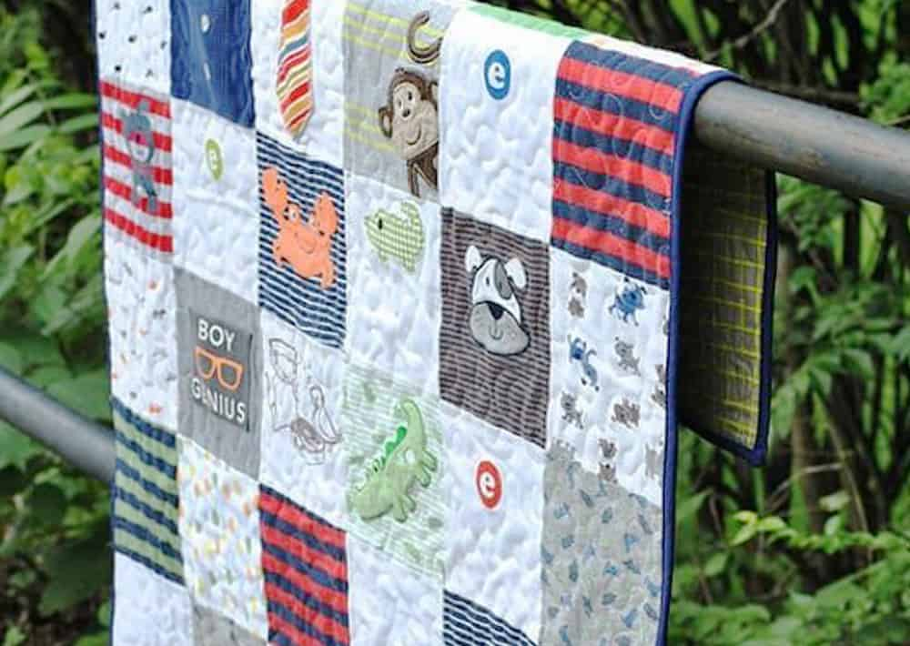 Quilt made from baby clothing and onesies