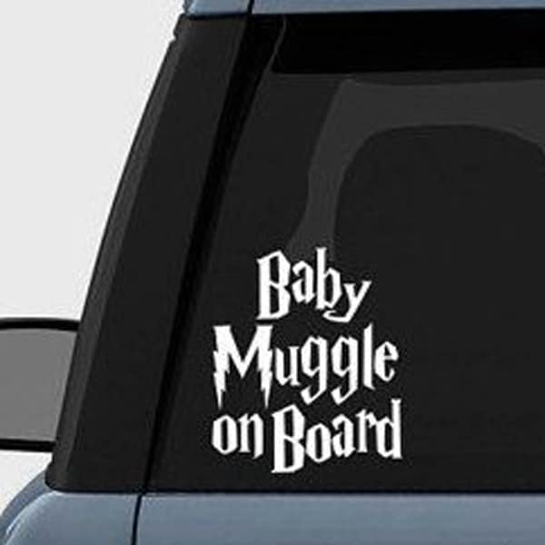 baby muggle on board stuck to the back of car window