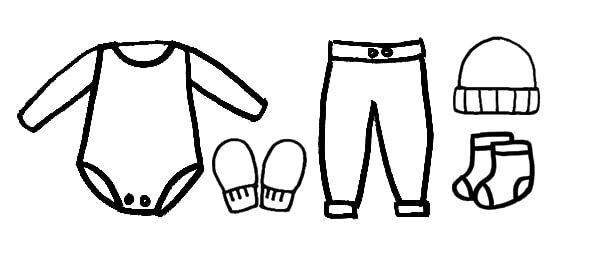 long sleeve onesie + mittens + pants + hat + socks