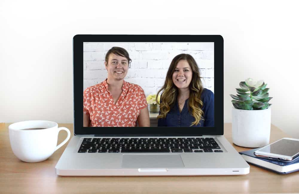 Computer showing online childbirth course instructors Bryn and Stephanie