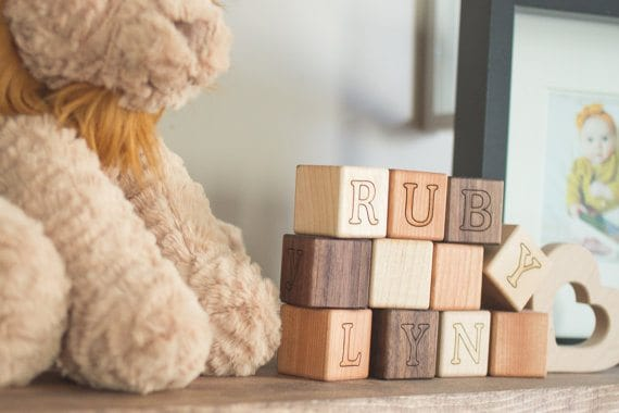 Personalized Baby Gifts: wooden blocks