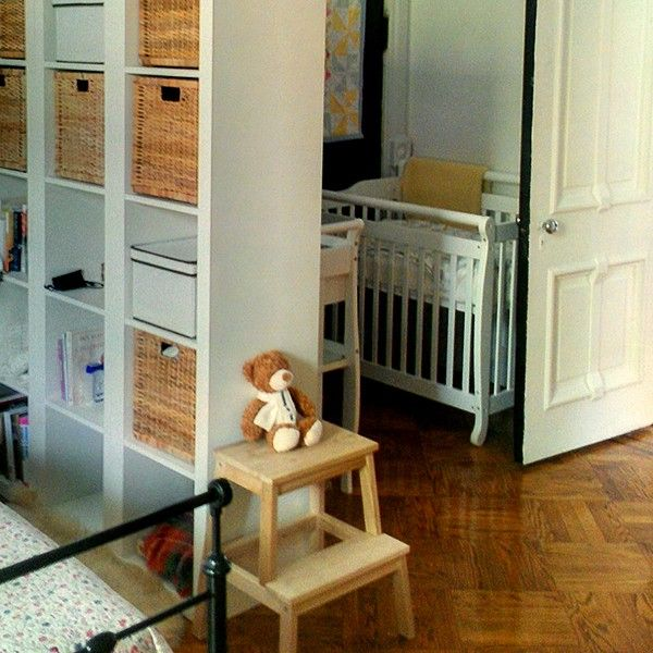 nursery nook created by using IKEA bookshelfnursery nook created by using IKEA bookshelf