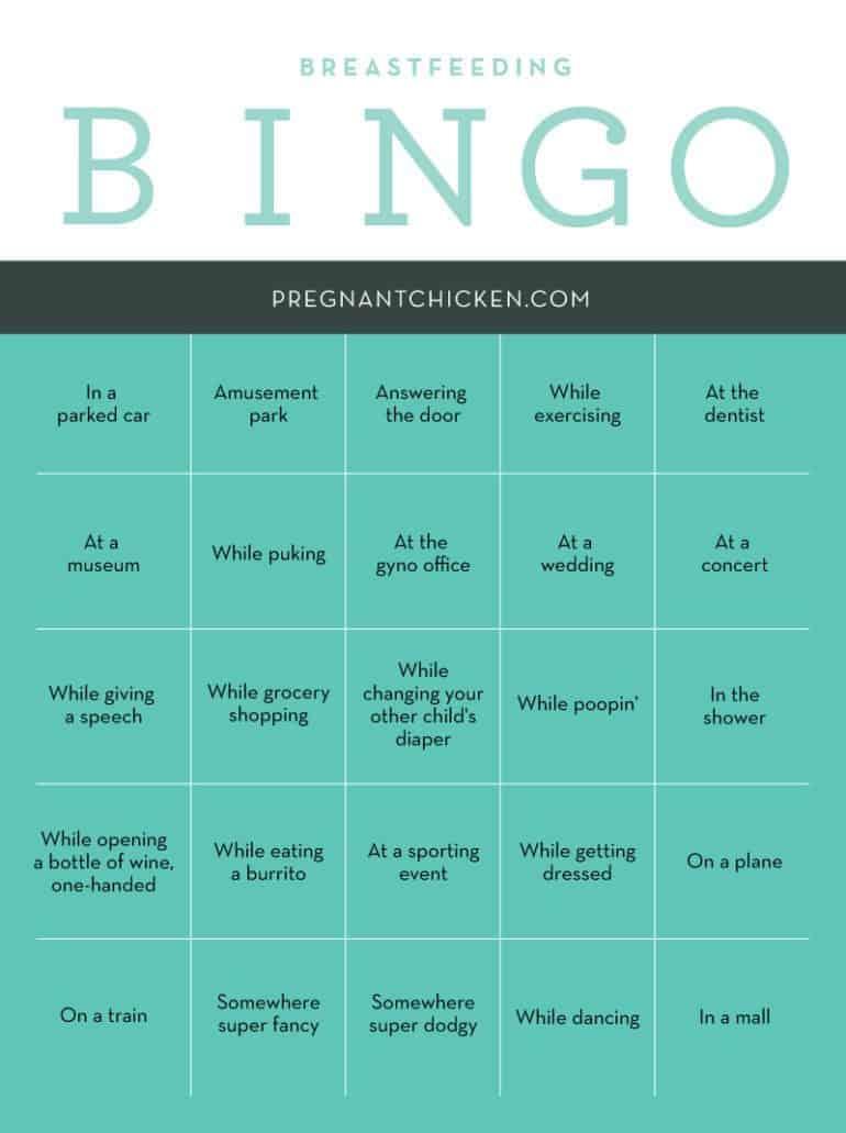 breastfeeding bingo