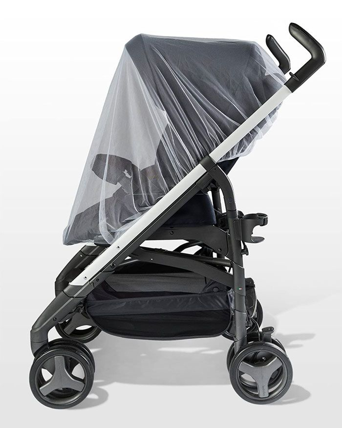 stroller covered with bug net