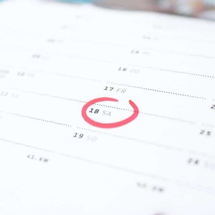 date in a calendar circled