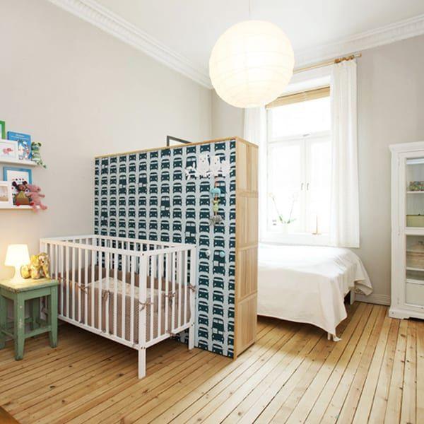 nursery nook created using bookshelf