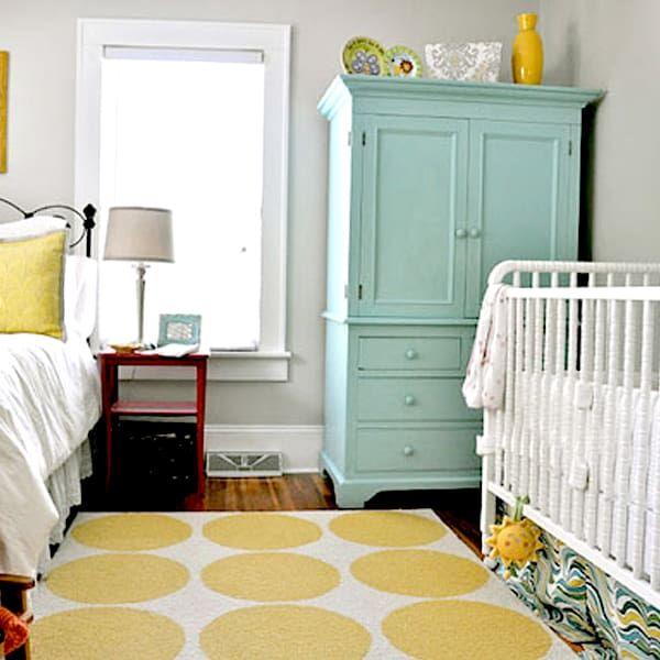 aqua and yellow bedroom with white cribaqua and yellow bedroom with white crib