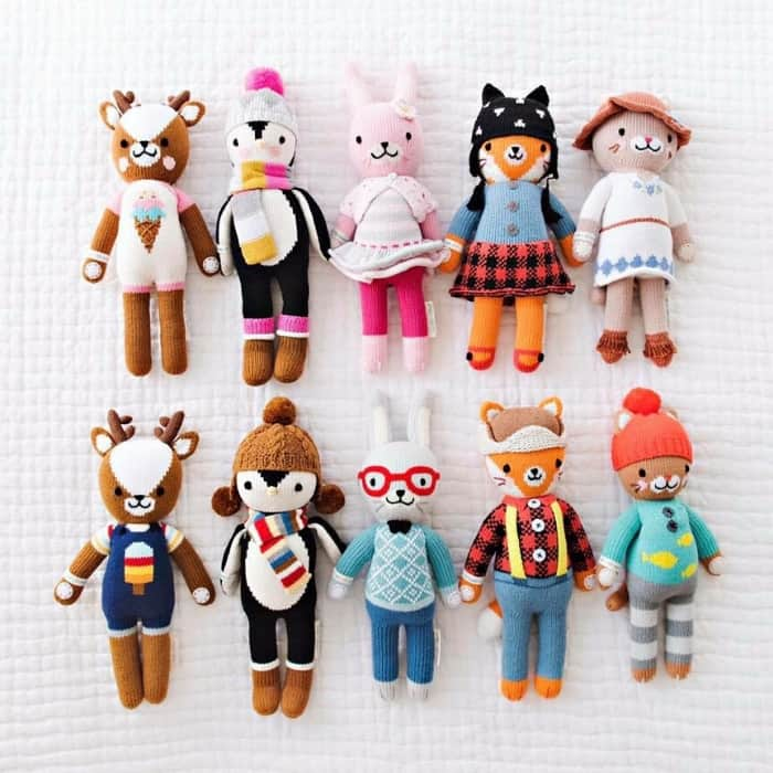 ten knitted cuddle and kind dolls