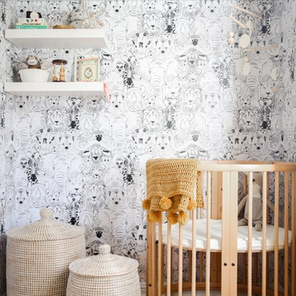 wallpapered nursery nookwallpapered nursery nook