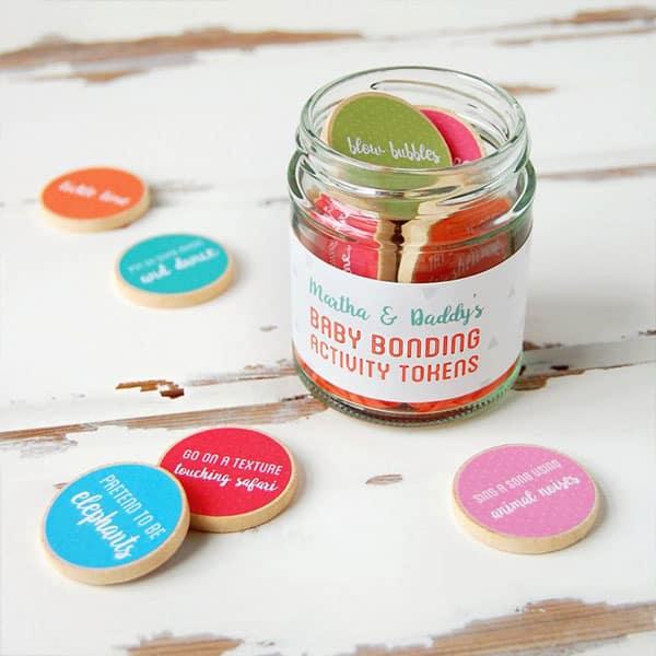 Jar full of baby bonding activity tokens