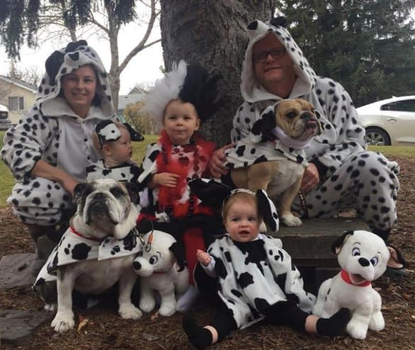 family dressed up as dalmations