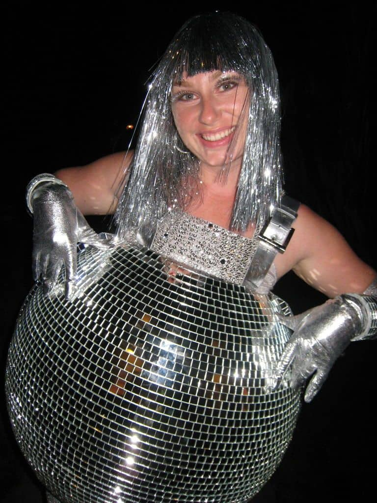 Woman dressed in silver DIY disco ball costume